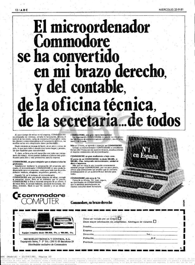 Primer anuncio Commodore