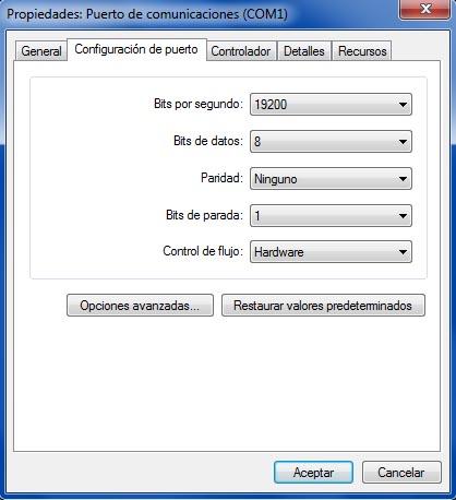 Configuración puerto Serial (Com) en Pc