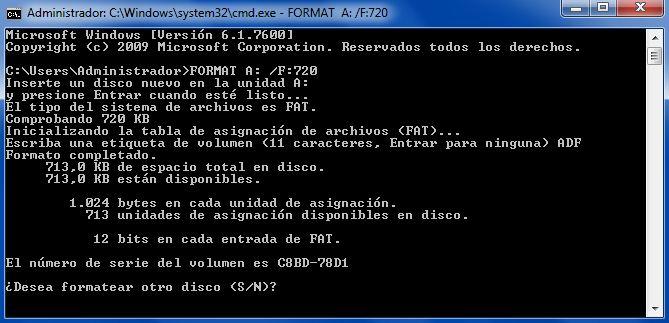 Formateado disco PC a 720kb