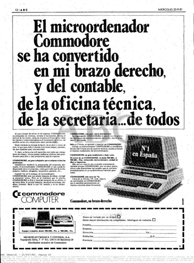 Primer anuncio Commodore