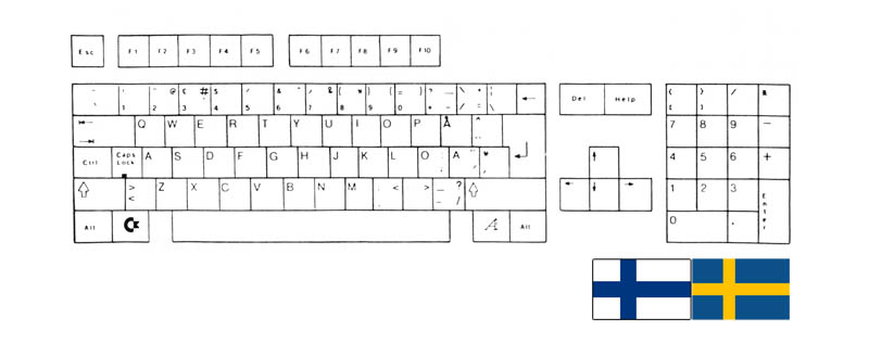 Teclado Sueco-Finlandés Amiga 500