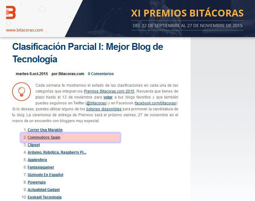 Premios Bitácoras 2015 - Primer parcial