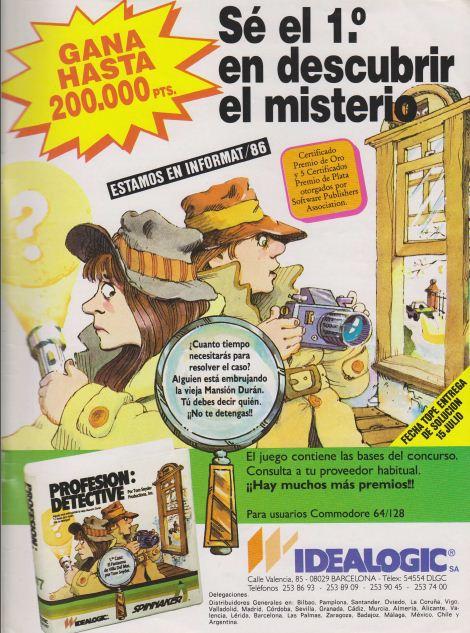 Publicidad Profesión Detective  – Idealogic – Commodore 64