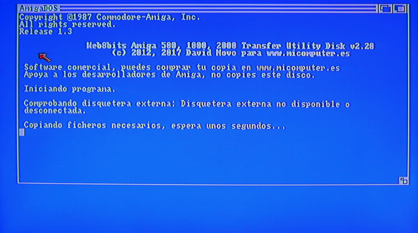 Captura pantalla Menu Tranfer utility Disk 2