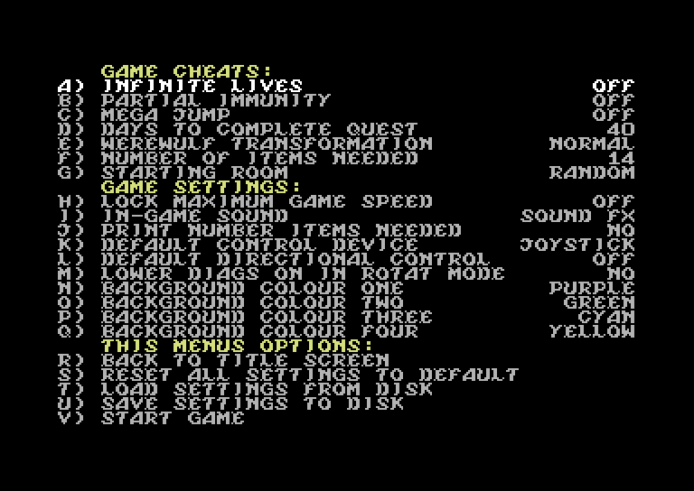 Knight Lore – options – C64 (1)