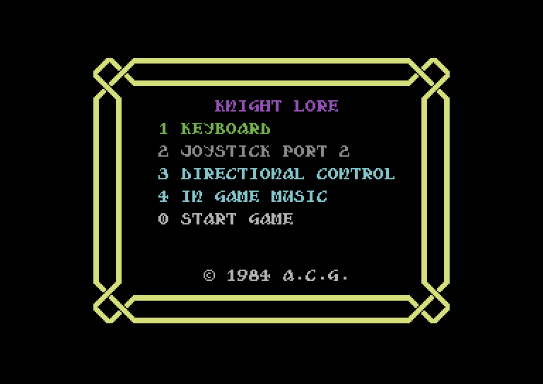 Knight Lore – options – C64 (2)