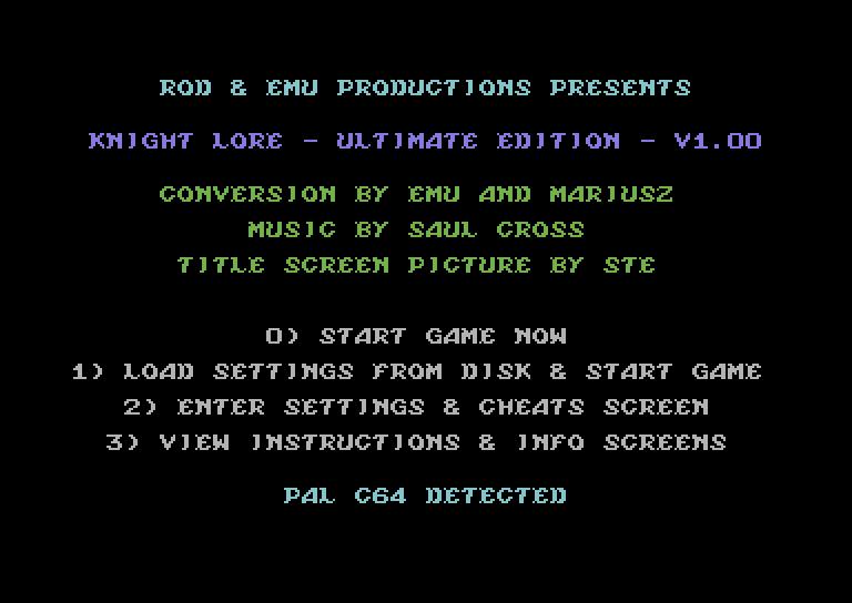 Knight Lore – options – C64 (3)