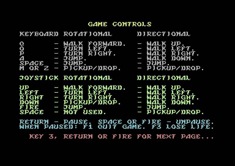 Knight Lore – options – C64 (4)